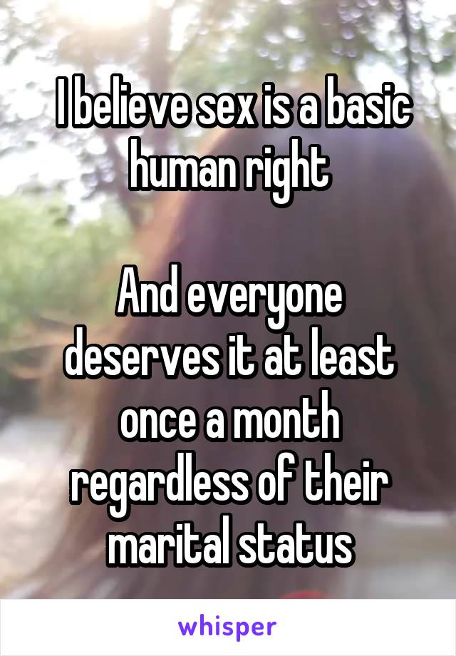 I believe sex is a basic human right  And everyone deserves it at least once a month regardless of their marital status