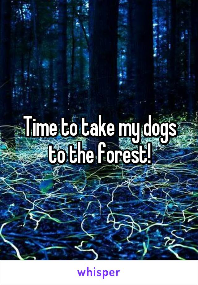 Time to take my dogs to the forest!