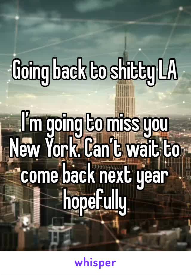 Going back to shitty LA   I'm going to miss you New York. Can't wait to come back next year hopefully