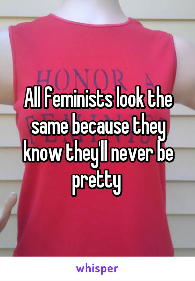 All feminists look the same because they know they'll never be pretty