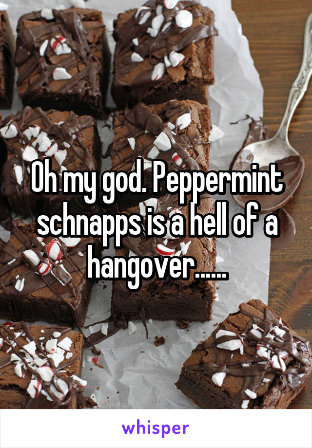 Oh my god. Peppermint schnapps is a hell of a hangover......