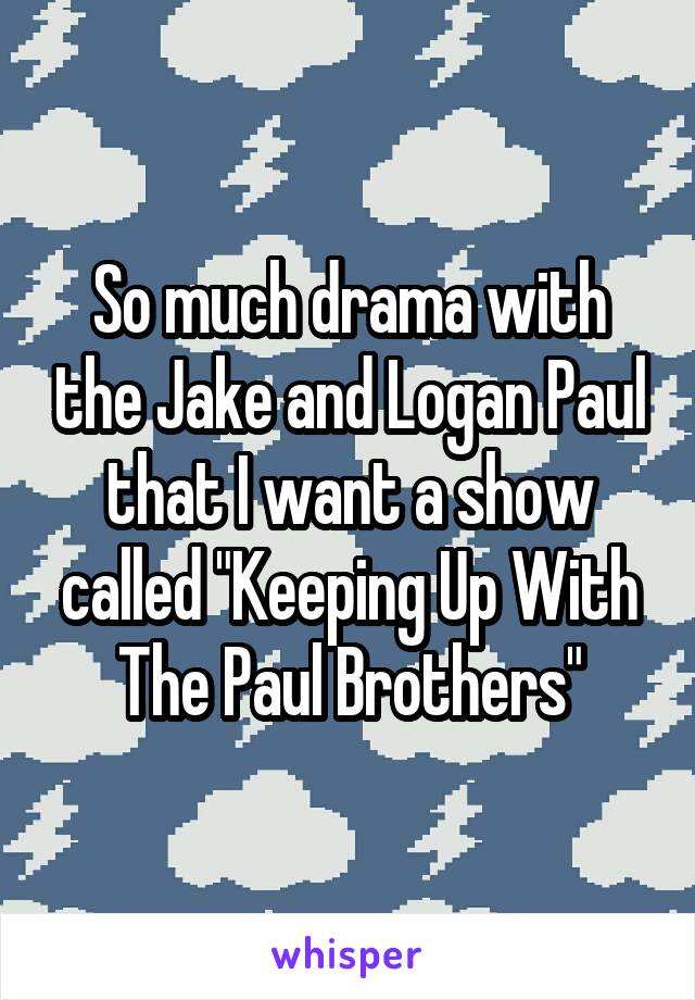 """So much drama with the Jake and Logan Paul that I want a show called """"Keeping Up With The Paul Brothers"""""""
