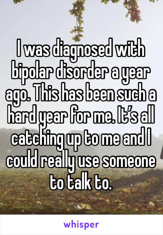 I was diagnosed with bipolar disorder a year ago. This has been such a hard year for me. It's all catching up to me and I could really use someone to talk to.