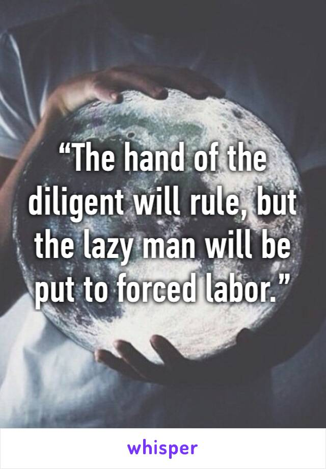 """""""The hand of the diligent will rule, but the lazy man will be put to forced labor."""""""