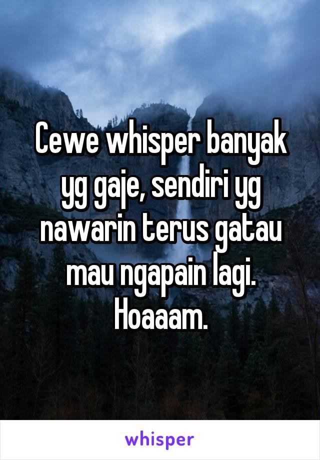 Cewe whisper banyak yg gaje, sendiri yg nawarin terus gatau mau ngapain lagi. Hoaaam.