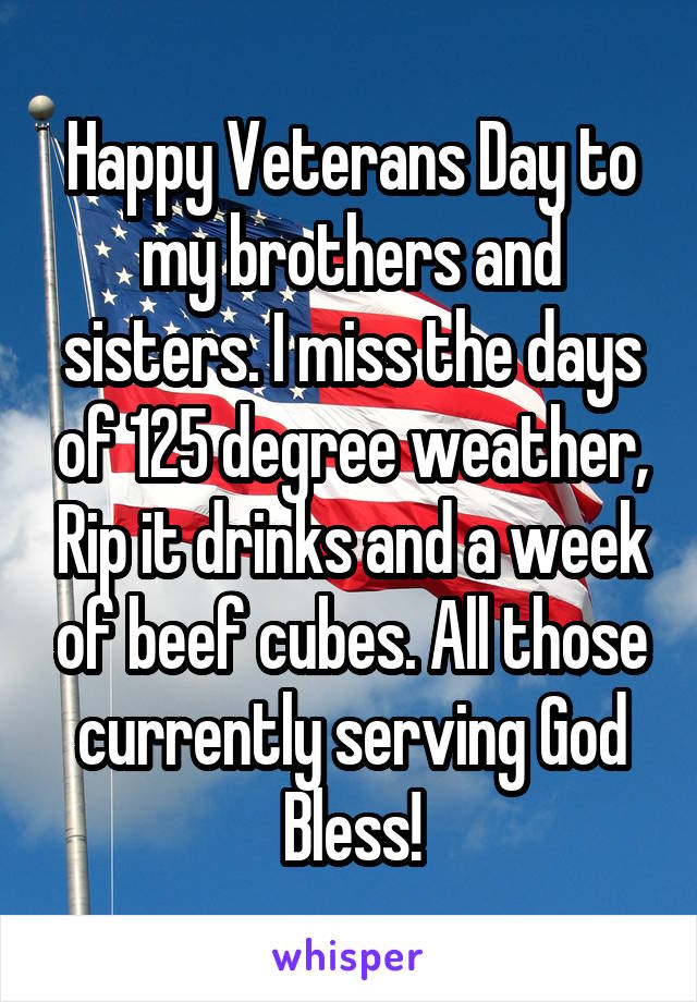Happy Veterans Day to my brothers and sisters. I miss the days of 125 degree weather, Rip it drinks and a week of beef cubes. All those currently serving God Bless!