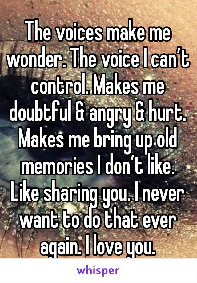 The voices make me wonder. The voice I can't control. Makes me doubtful & angry & hurt. Makes me bring up old memories I don't like. Like sharing you. I never want to do that ever again. I love you.
