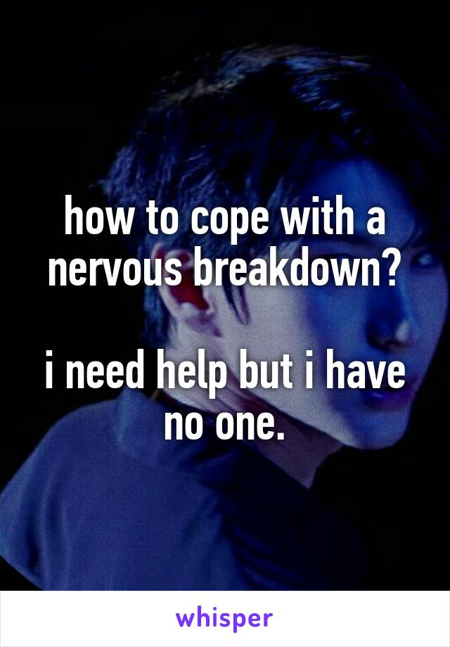 how to cope with a nervous breakdown?  i need help but i have no one.