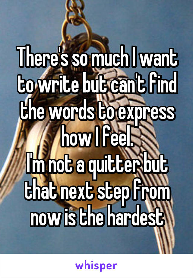 There's so much I want to write but can't find the words to express how I feel. I'm not a quitter but that next step from now is the hardest