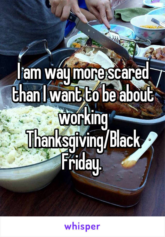 I am way more scared than I want to be about working Thanksgiving/Black Friday.