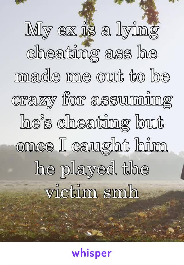 My ex is a lying cheating ass he made me out to be crazy for assuming he's cheating but once I caught him he played the victim smh