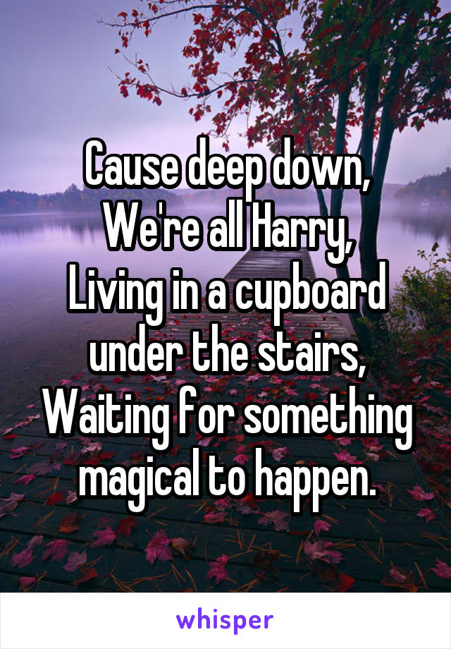 Cause deep down, We're all Harry, Living in a cupboard under the stairs, Waiting for something magical to happen.