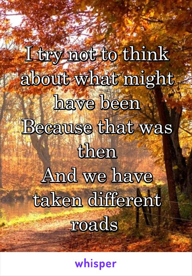 I try not to think about what might have been Because that was then And we have taken different roads