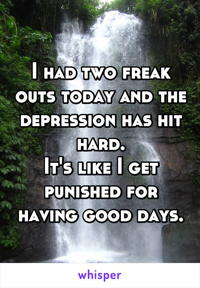 I had two freak outs today and the depression has hit hard. It's like I get punished for having good days.