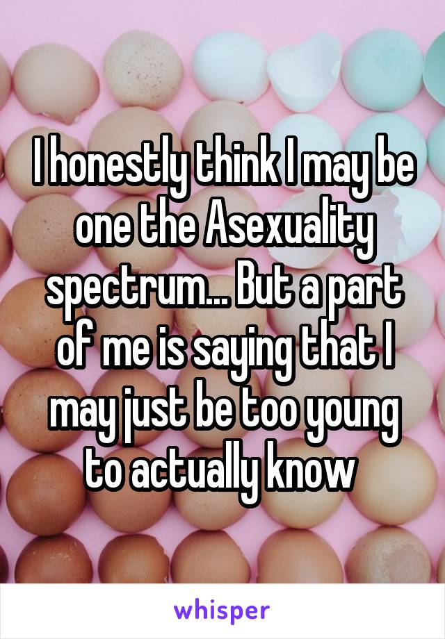 I honestly think I may be one the Asexuality spectrum... But a part of me is saying that I may just be too young to actually know