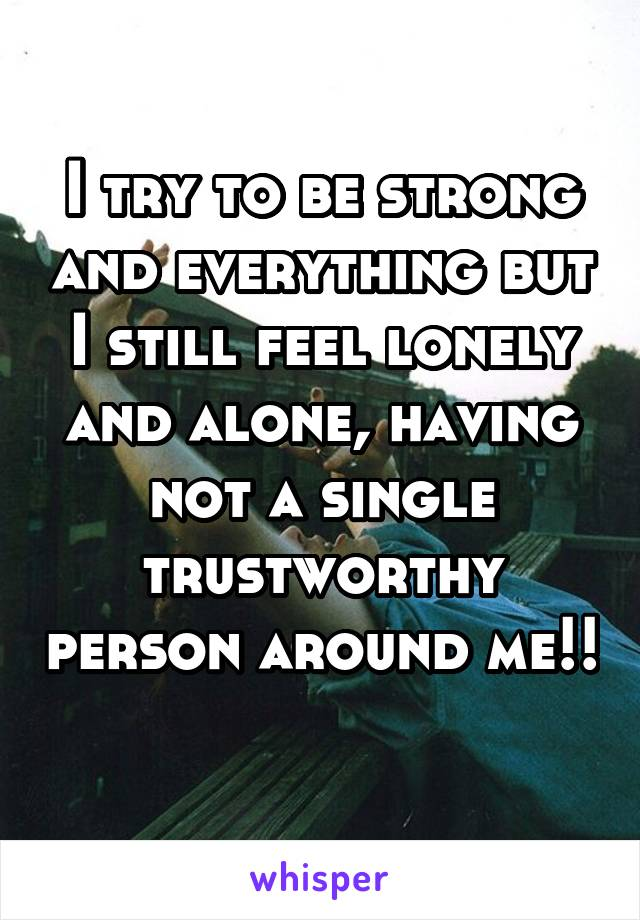 I try to be strong and everything but I still feel lonely and alone, having not a single trustworthy person around me!!