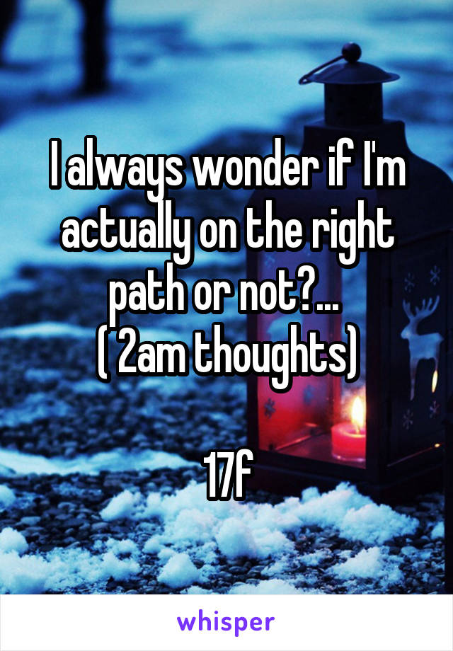 I always wonder if I'm actually on the right path or not?...  ( 2am thoughts)  17f