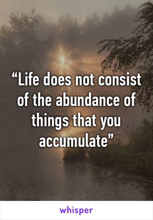 """""""Life does not consist of the abundance of things that you accumulate"""""""