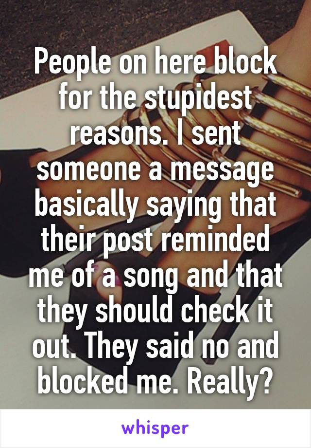 People on here block for the stupidest reasons. I sent someone a message basically saying that their post reminded me of a song and that they should check it out. They said no and blocked me. Really?