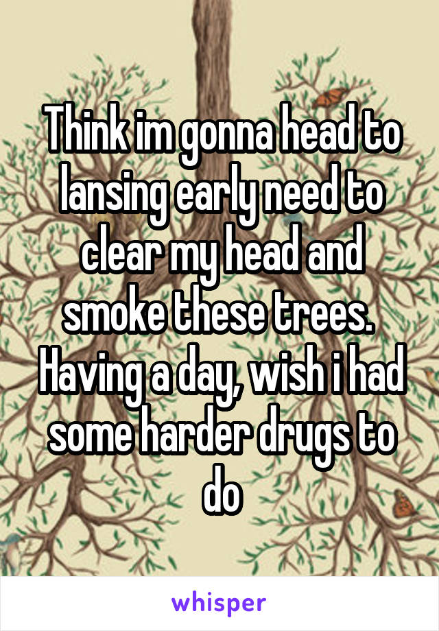 Think im gonna head to lansing early need to clear my head and smoke these trees.  Having a day, wish i had some harder drugs to do