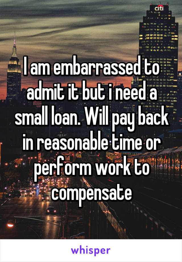 I am embarrassed to admit it but i need a small loan. Will pay back in reasonable time or perform work to compensate