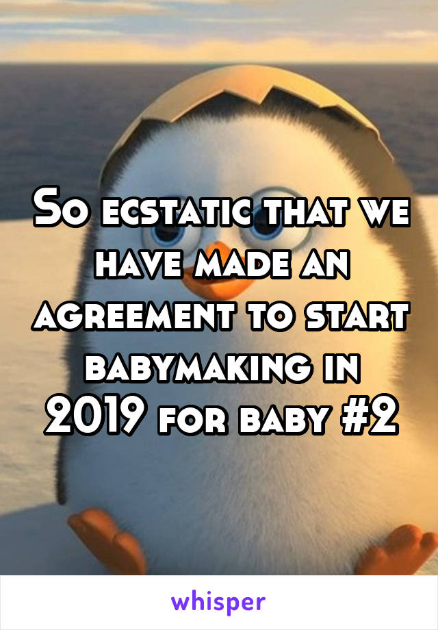 So ecstatic that we have made an agreement to start babymaking in 2019 for baby #2