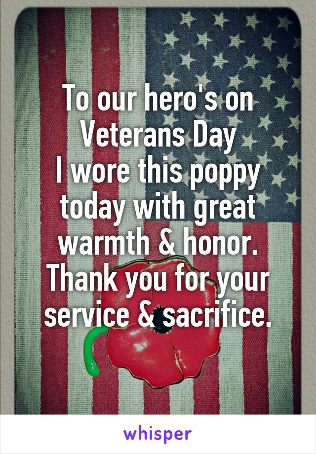 To our hero's on Veterans Day I wore this poppy today with great warmth & honor. Thank you for your service & sacrifice.
