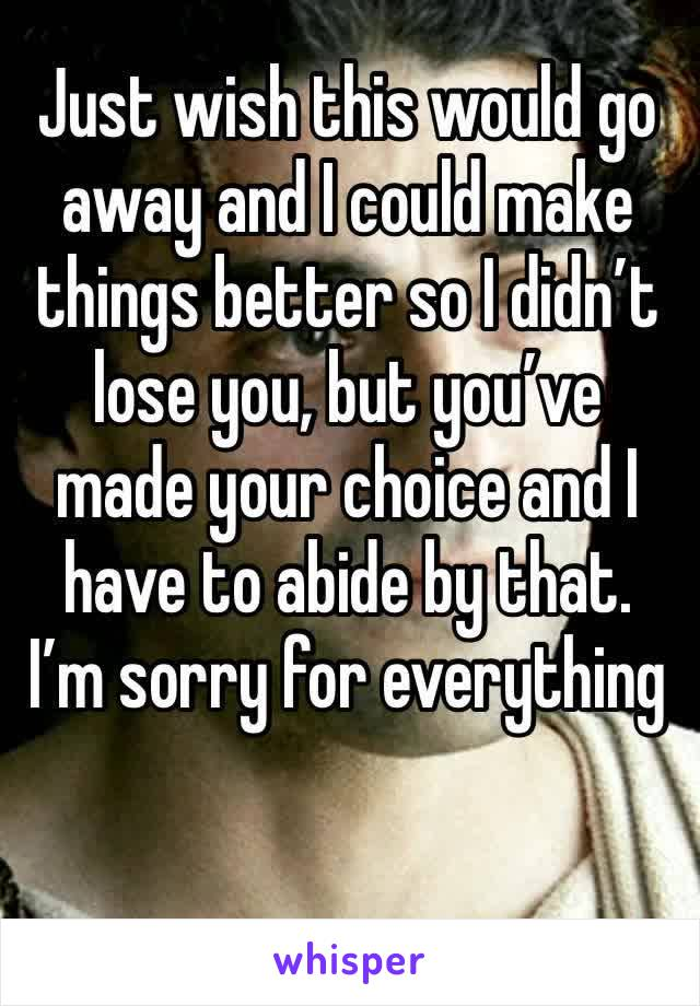 Just wish this would go away and I could make things better so I didn't lose you, but you've made your choice and I have to abide by that. I'm sorry for everything