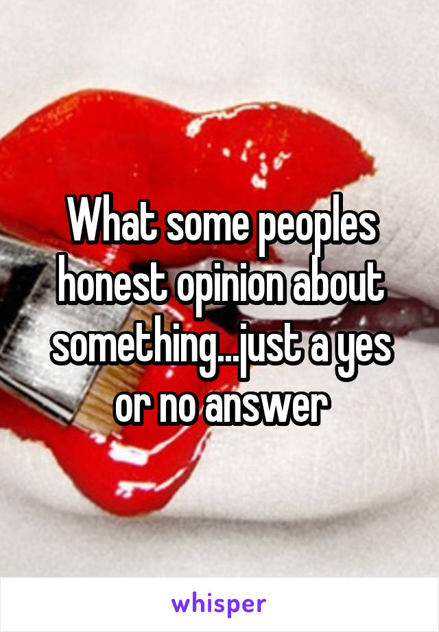 What some peoples honest opinion about something...just a yes or no answer