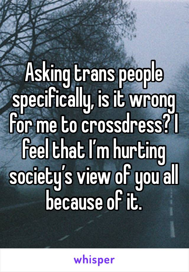 Asking trans people specifically, is it wrong for me to crossdress? I feel that I'm hurting society's view of you all because of it.
