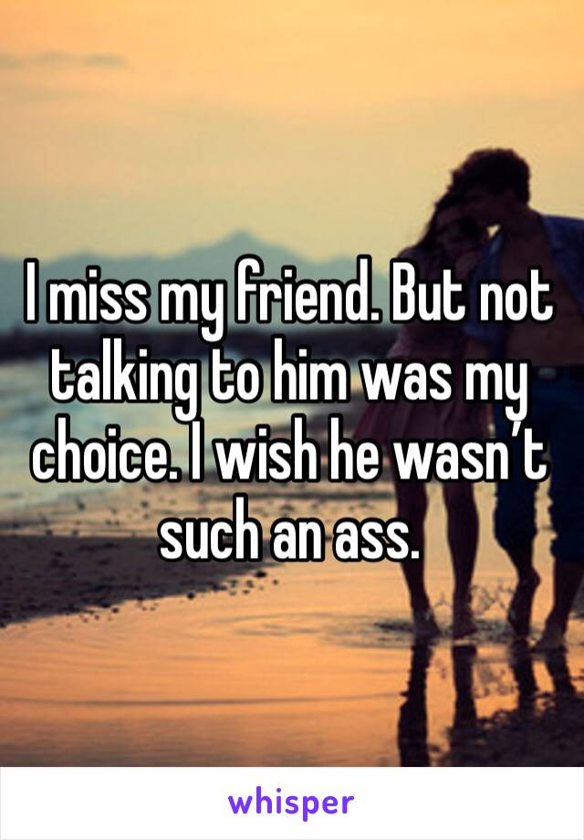 I miss my friend. But not talking to him was my choice. I wish he wasn't such an ass.