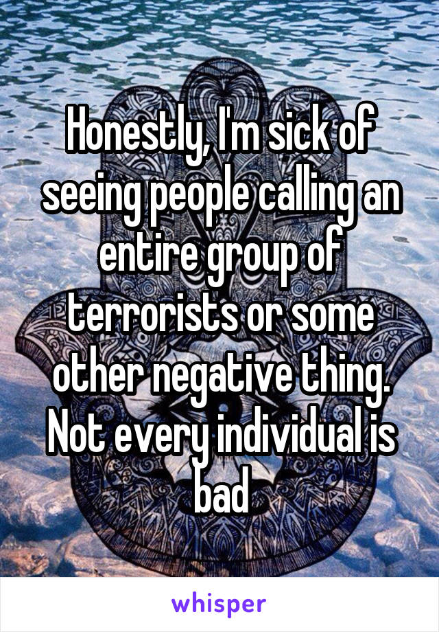 Honestly, I'm sick of seeing people calling an entire group of terrorists or some other negative thing. Not every individual is bad