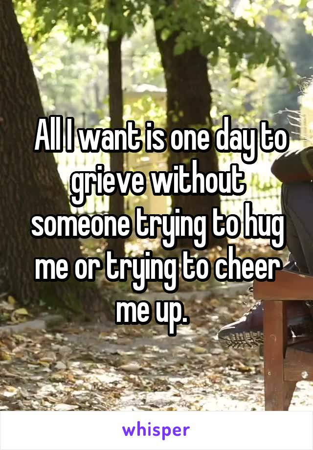 All I want is one day to grieve without someone trying to hug me or trying to cheer me up.