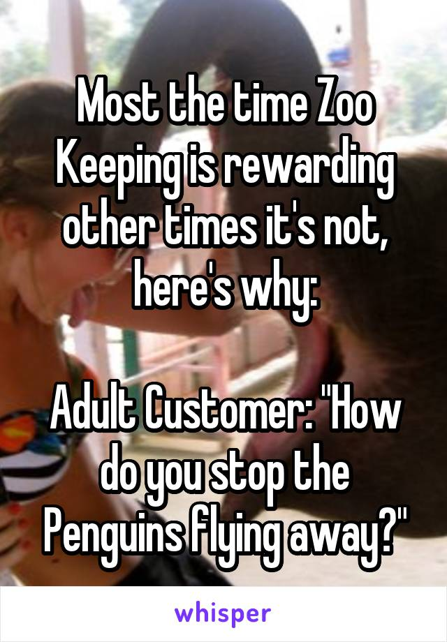 "Most the time Zoo Keeping is rewarding other times it's not, here's why:  Adult Customer: ""How do you stop the Penguins flying away?"""