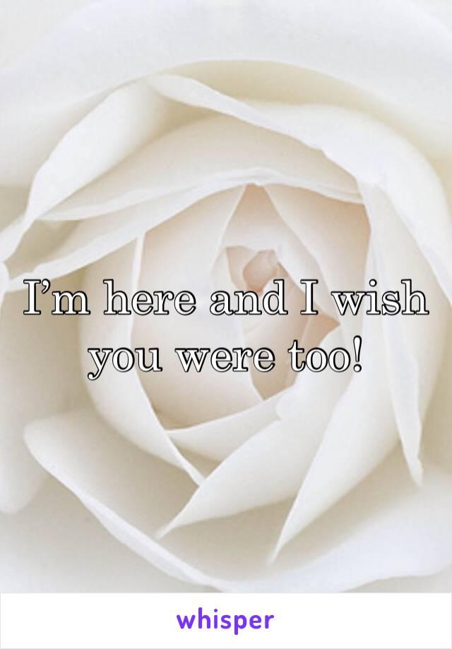 I'm here and I wish you were too!