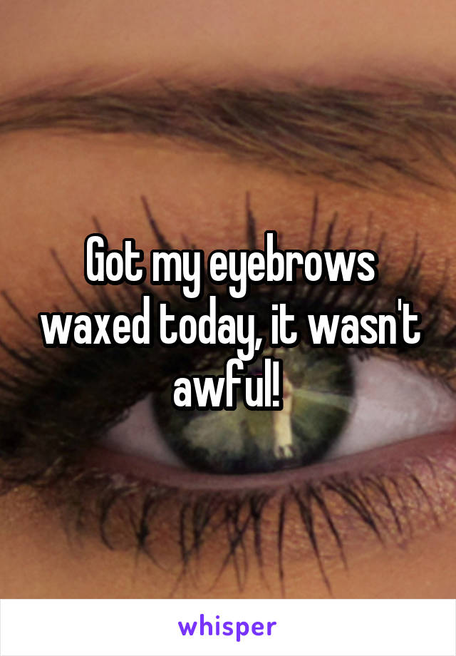 Got my eyebrows waxed today, it wasn't awful!
