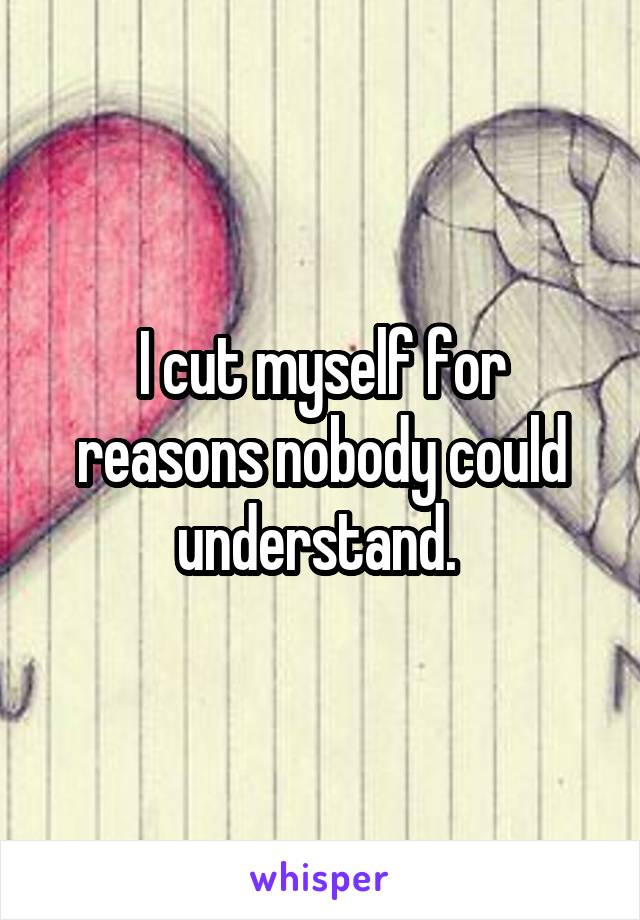 I cut myself for reasons nobody could understand.