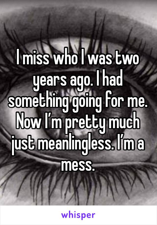 I miss who I was two years ago. I had something going for me. Now I'm pretty much just meanlingless. I'm a mess.