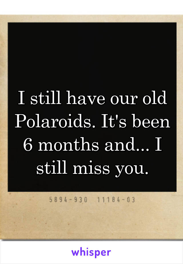 I still have our old Polaroids. It's been 6 months and... I still miss you.