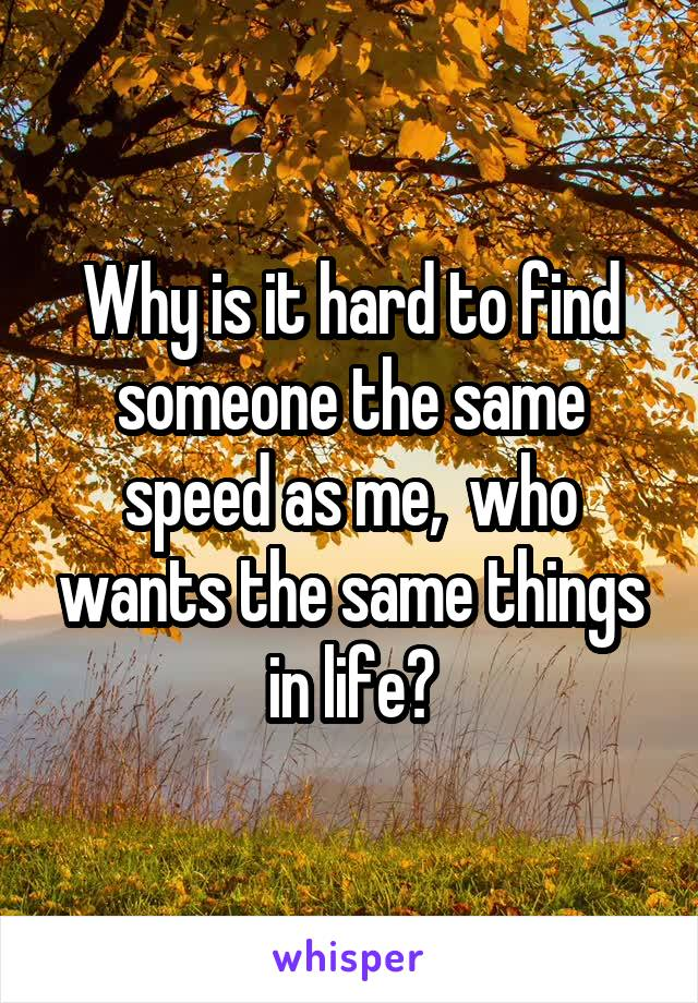 Why is it hard to find someone the same speed as me,  who wants the same things in life?