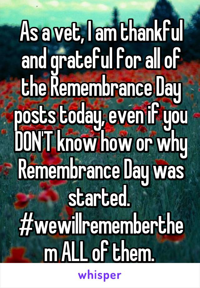As a vet, I am thankful and grateful for all of the Remembrance Day posts today, even if you DON'T know how or why Remembrance Day was started.  #wewillrememberthem ALL of them.