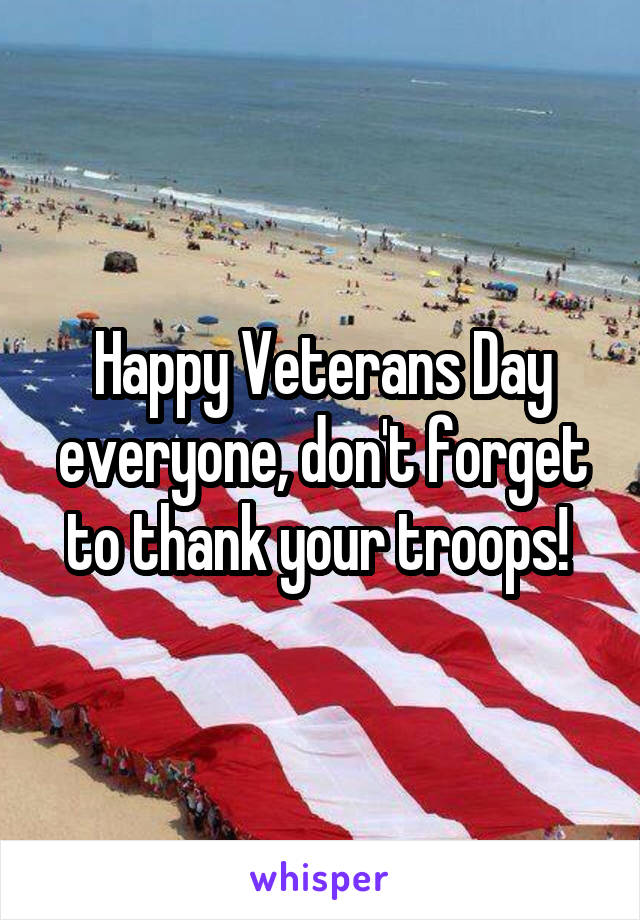 Happy Veterans Day everyone, don't forget to thank your troops!