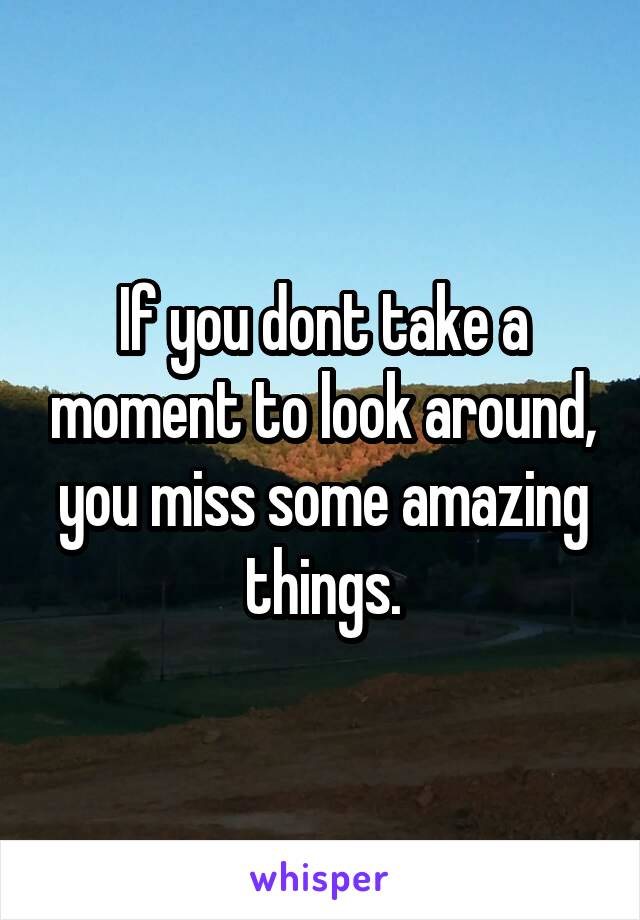 If you dont take a moment to look around, you miss some amazing things.