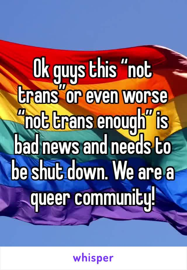 """Ok guys this """"not trans""""or even worse """"not trans enough"""" is bad news and needs to be shut down. We are a queer community!"""