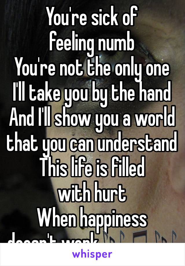 You're sick of feeling numb You're not the only one I'll take you by the hand And I'll show you a world that you can understand This life is filled with hurt When happiness doesn't work🎶🎵🎶