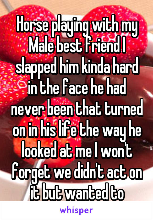 Horse playing with my Male best friend I slapped him kinda hard in the face he had never been that turned on in his life the way he looked at me I won't forget we didn't act on it but wanted to