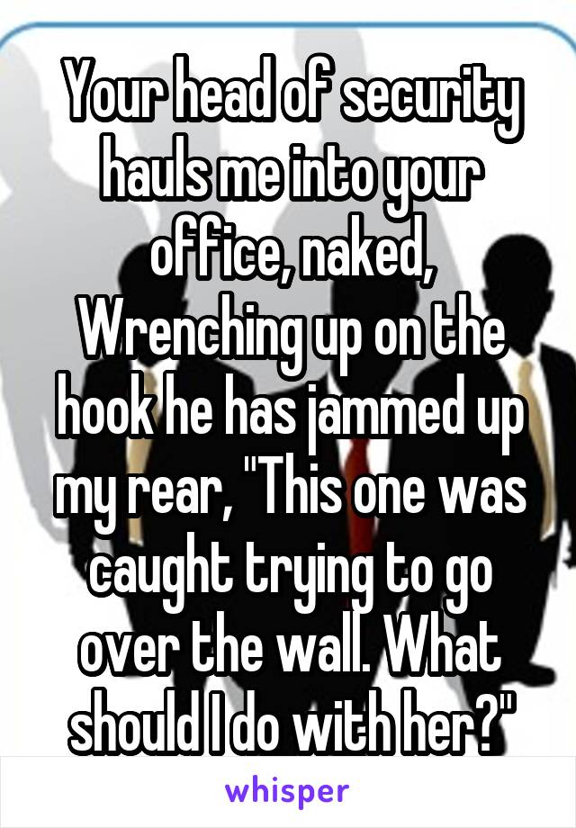 """Your head of security hauls me into your office, naked, Wrenching up on the hook he has jammed up my rear, """"This one was caught trying to go over the wall. What should I do with her?"""""""