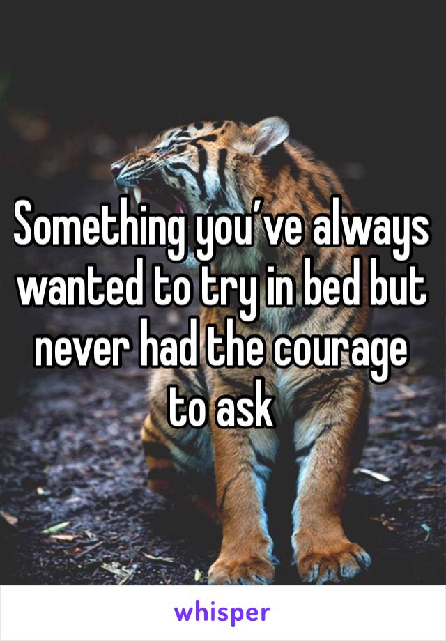 Something you've always wanted to try in bed but never had the courage to ask