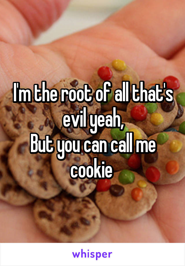 I'm the root of all that's evil yeah, But you can call me cookie