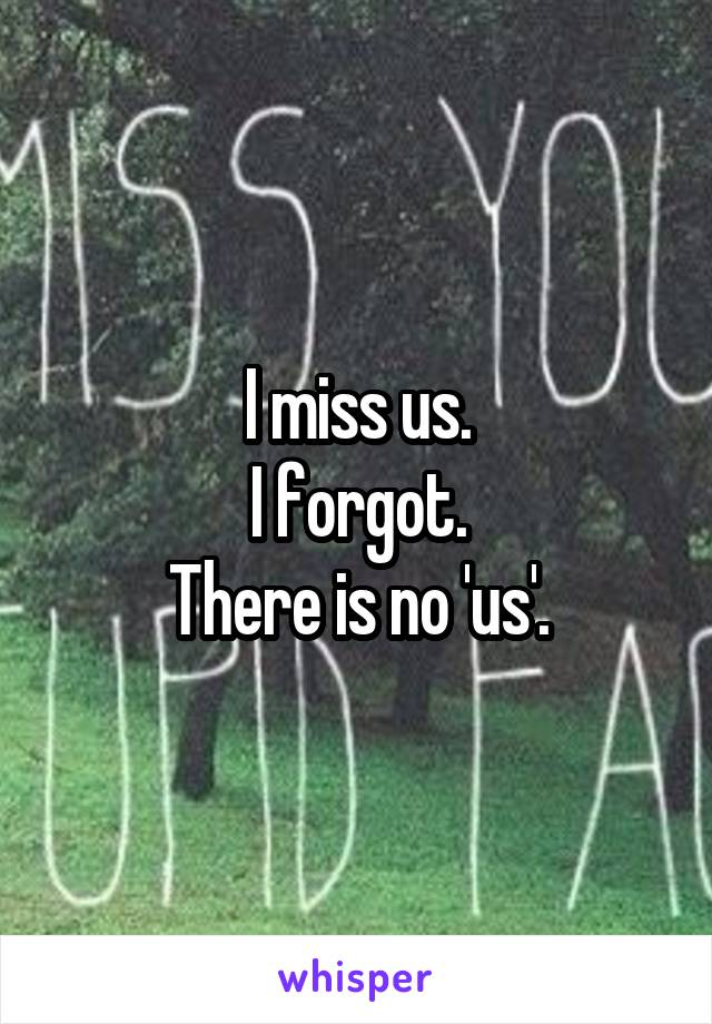I miss us. I forgot. There is no 'us'.
